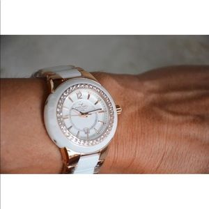 New Aquaswiss rose gold white ceramic &topaz watch